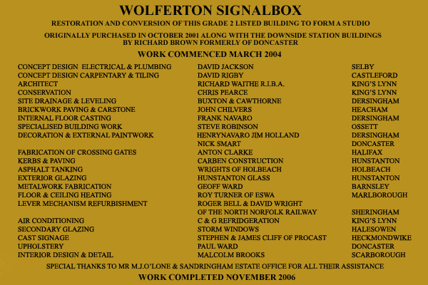 Wolferton Signal Box Plaque